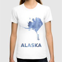 Alaska map outline Blue clouds watercolor pattern T-shirt