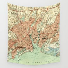 Vintage Map of Bridgeport Connecticut (1951) 2 Wall Tapestry