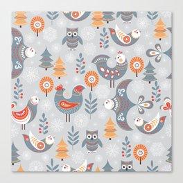 Winter seamless pattern with birds, trees, snowflakes. The Scandinavian style. Folk art. Canvas Print