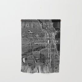 Chicago Black Map Wall Hanging
