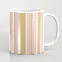 Splendid Stripes - Retro Modern Stripe Pattern in Gold, Pink, White, and Mushroom Coffee Mug