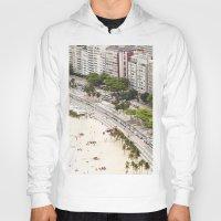 rio de janeiro Hoodies featuring Copacabana Beach. Rio de Janeiro. by Jeremiah Wilson