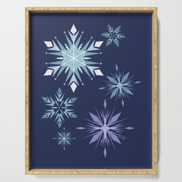 Midnight snowflakes pattern  Serving Tray