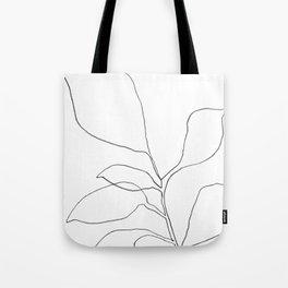 Six Leaf Plant - Minimalist Botanical Line Drawing Tote Bag