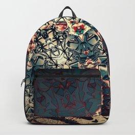 Teal Beige Textured Half Mandala Backpack