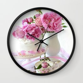 Shabby Chic Pink and White Peony Romantic Prints and Home Decor Wall Clock