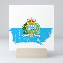 Distressed San Marino Flag Graffiti Mini Art Print