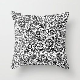 Vintage folk art floral ornament Black flowers on white background Throw Pillow