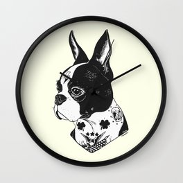 Dog - Tattooed BostonTerrier Wall Clock