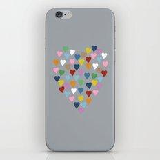 Hearts Heart Multi Grey iPhone & iPod Skin