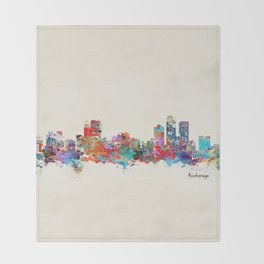 anchorage alaska skyline Throw Blanket
