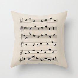 Cute Conceptual Cat Song Music Notation Throw Pillow