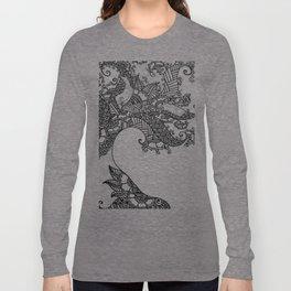 Zen Tree Rebirth White Right Half Long Sleeve T-shirt