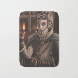 Dungeons and Dragons Character Painting Cinder Gnome Wizard Pyromancer Bath Mat