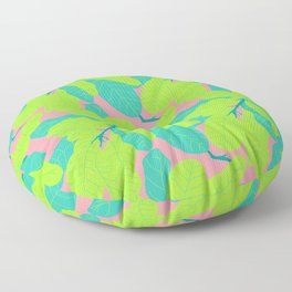 Tropicana Banana Leaves in Neon Peach + Lime Floor Pillow