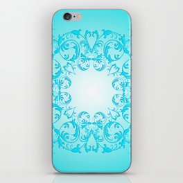Baroque style turquoise floral texture iPhone Skin