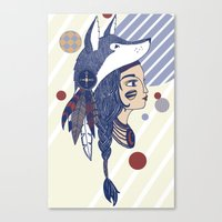 native american Canvas Prints featuring Native American by Katie Ruby Illustrator