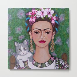 Frida cat lover closer Metal Print
