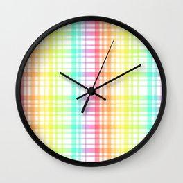 Light Rainbow Plaid Wall Clock