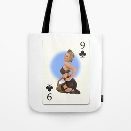 """Nine of Clubs"" - Playful Pinup Girl - Retro Vintage Playing Card Pinup Tote Bag"
