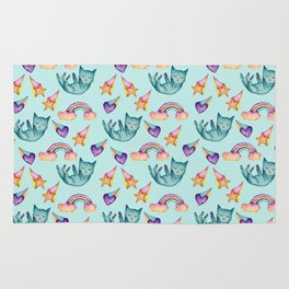 Dreamy Cat Floating in the Sky Watercolor Pattern Rug