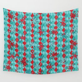Retro Snowflakes in Red Wall Tapestry