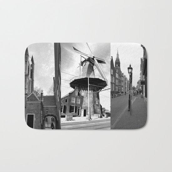 Photo collage Delft 9 in black and white Bath Mat