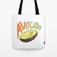 avocado Tote Bags featuring Avocado by Ken Coleman
