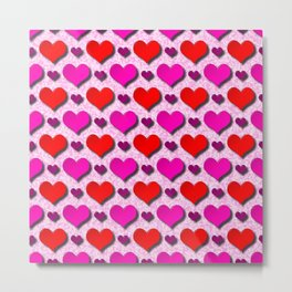 Love Hearts Pattern With Pink Fuzzy Background Metal Print