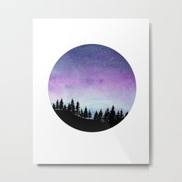 Purple and Blue Galaxy Sky - Watercolour Landscape with Tree SIlhouette Metal Print