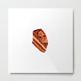 Choco cake slice in watercolor Metal Print