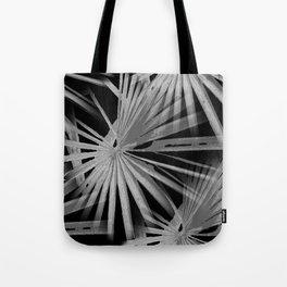 Gray Grey On Black Tropical Vibes Beach Palmtree Vector Tote Bag
