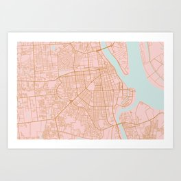 Pink and gold Phnom Penh map, Cambodia Art Print