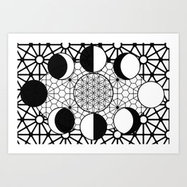 moon phases and sacred geometry Art Print