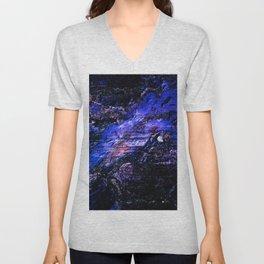 Deep Blue Textured Mineral Unisex V-Neck