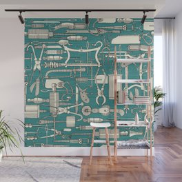 fiendish incisions blue Wall Mural
