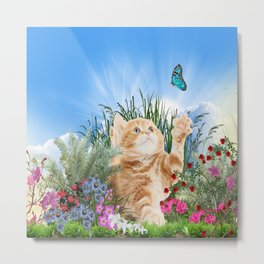 Ginger Kitten Playing with a Butterfly Metal Print