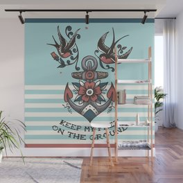 Anchor with birds - Keep my feet on the ground Wall Mural