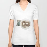 poetry V-neck T-shirts featuring Breakfast & Poetry  by HollyBroderick