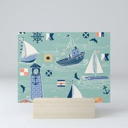 Nautical Sailing in Mint Mini Art Print