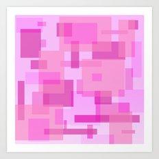 mod pink rectangles Art Print