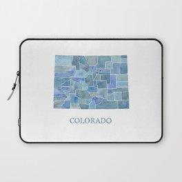 Colorado Counties BluePrint Watercolor Map Laptop Sleeve