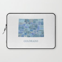 Colorado Counties BluePrint Watercolor Map Laptop Sleeve