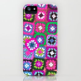 Pink crochet vintage granny squares craft iPhone Case