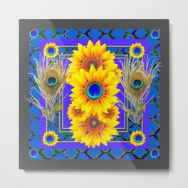 GREY-BLUE PEACOCK  SUNFLOWERS DECO JEWELED ABSTRACT  FLORAL Metal Print