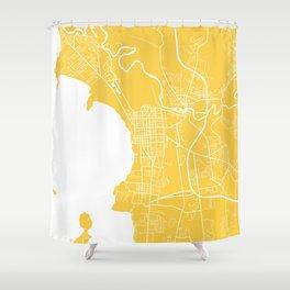Burlington Map Yellow Shower Curtain