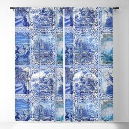 Portuguese Blue Tile art Blackout Curtain