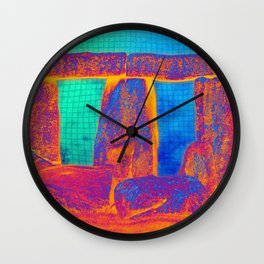 Stonehenge Meets Pop Art Wall Clock