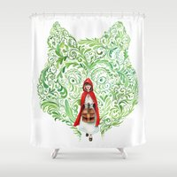 red riding hood Shower Curtains featuring Red Riding Hood by Stephane Lauzon