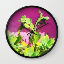 Plants on Pink Wall Clock